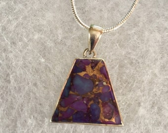 Purple Copper Turquoise Pendant Necklace in Sterling Silver