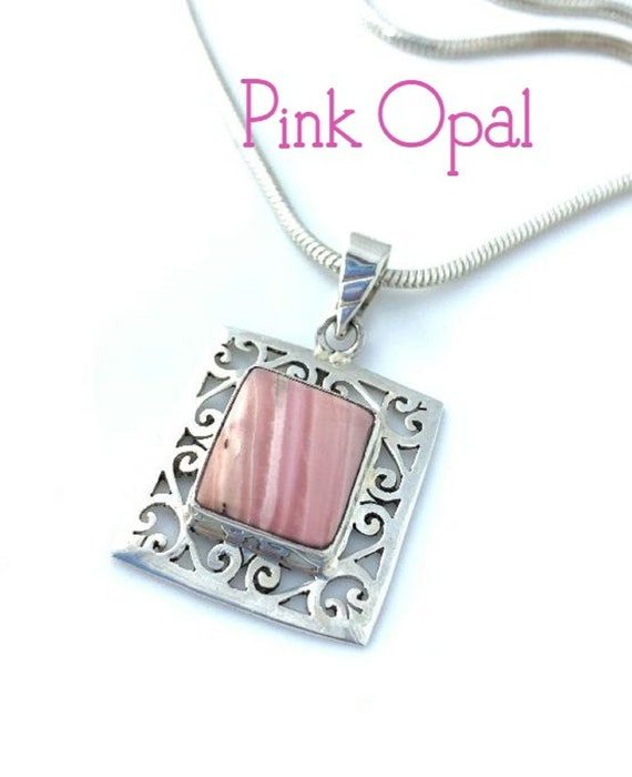 Sterling Silver Pendant DIY Pendant Gemstone Pendant Silver Pendant Pave Diamond Pendant Pink Opal Pendant Pink Opal Diamond Pendant