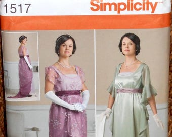 Simplicity #1517 Edwardian /Titanic Dress/High Empire Dresses/Costume (New Pattern) Size 6-12 Free Ship