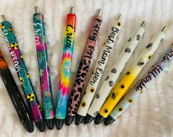 Set of 12 Custom glitter gel pen w/box, free shipping, bulk glitter pens, glitter pen, glitter gel pen, glitter resin pen, glitter pens