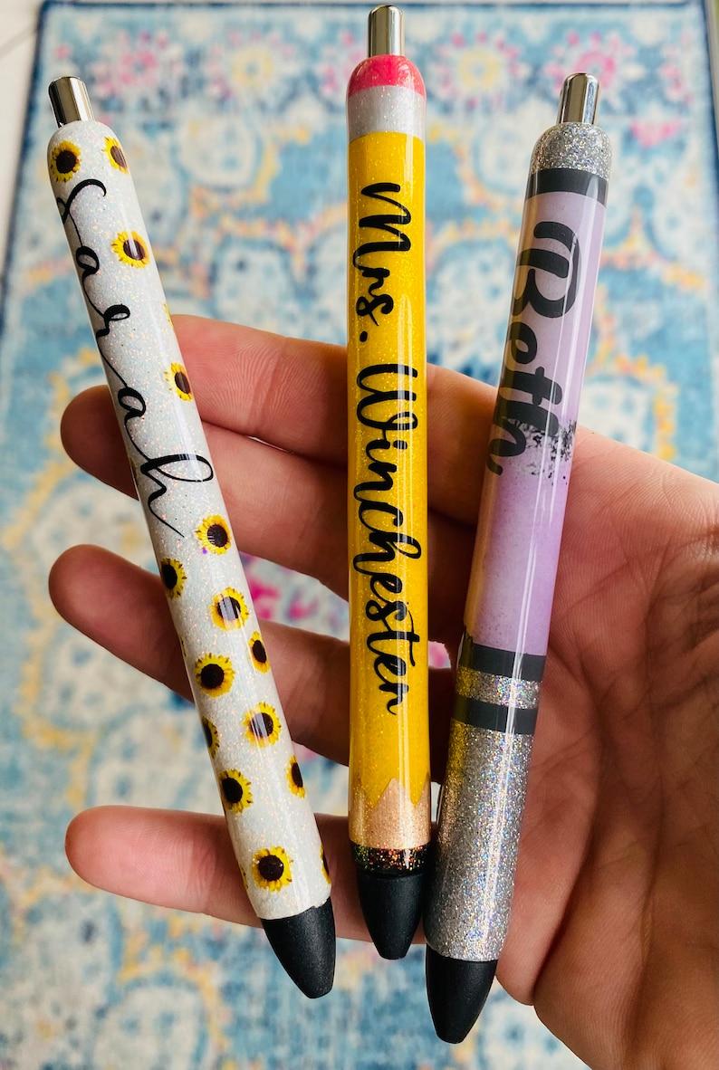 Custom refillable glitter gel pen w/box Personalize your image 0