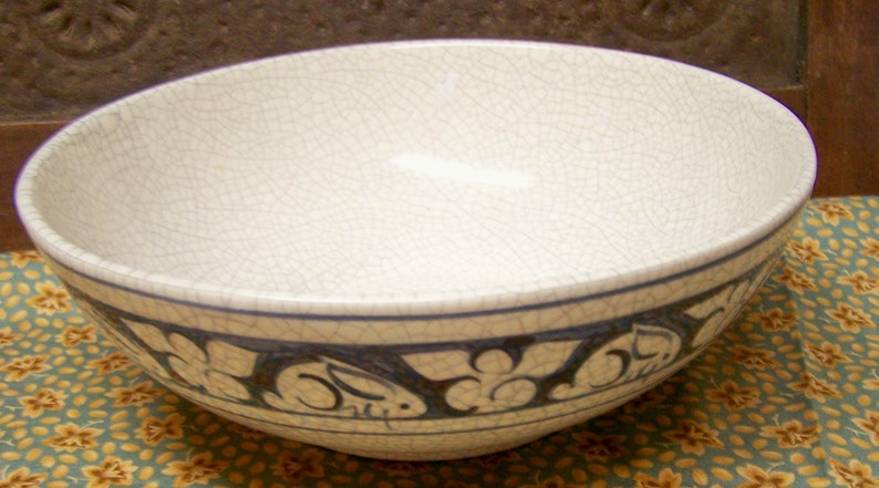 Dedham Crackled Pottery Small Bowl Perfect Condition