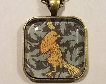 William Morris  - Iris Wallpaper, bird detail - glass pendant and chain