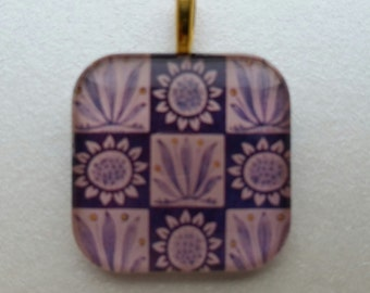 William Morris tile detail - glass pendant and chain