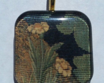 Garden - William Morris tapestry detail - glass pendant and chain