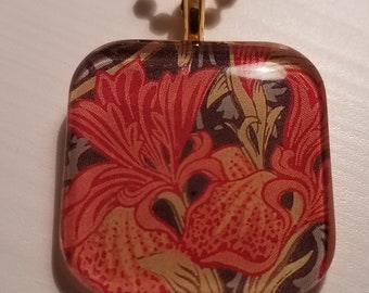 William Morris  - Iris Wallpaper - glass pendant and chain