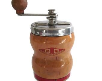 Vintage Coffee Grinder, Wood Coffee Mill,