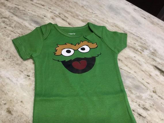 Sesame Street Oscar The Grouch One Piece Baby Infant Short Sleeve Bodysuit