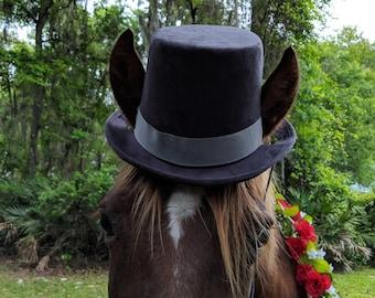 Gray Black or Dark Brown Top Hat for Horses - Equine Coachman Costume - Wedding Horse