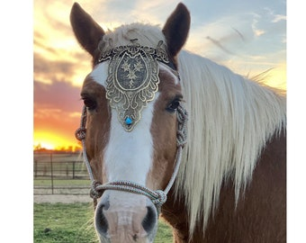 Gold Lace Face Plate Browband for Draft or Horse - Medieval Equine Tack Jewelry