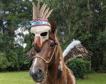 Shamans Horse Eagle Face Ornament - Equine Costume Accessory - Unique Foam Eagle Skull for Horse Costume