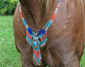 Southwest Equine Necklace - Beaded Dangles Horse Breast Collar - Horse Costume