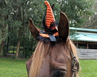 Witch Equine Fascinator in 3 colors - Mini Halloween Witch Hat for Horses  - Equine Witch Hat