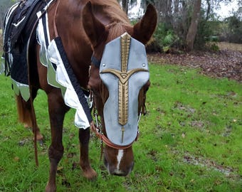 Roman Warrior Horse Chanfron Face Armor - Medieval Equine Armor Barding Costume - Equine Face Armor Costume - Ready to ship & Knights Templar Horse Costume Medieval Horse or Pony Costume