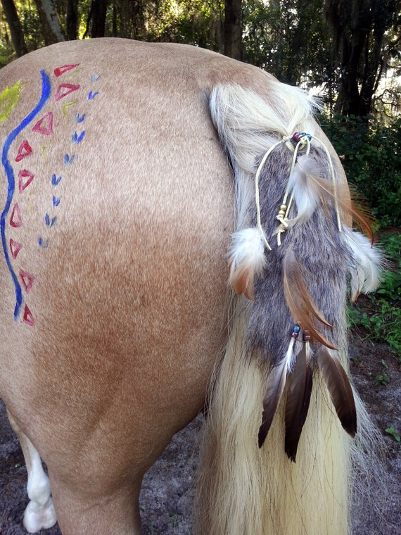 Equine Costume Fake Brown Wolf Tail Viking Horse Costume Faux Fox Pelt American Indian Style Horse Costume