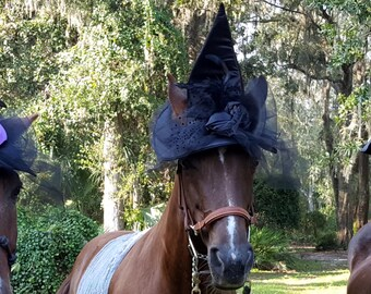 Black Roses Witch Hat for Horse - Equine Tack Goth Victorian Hat for Halloween
