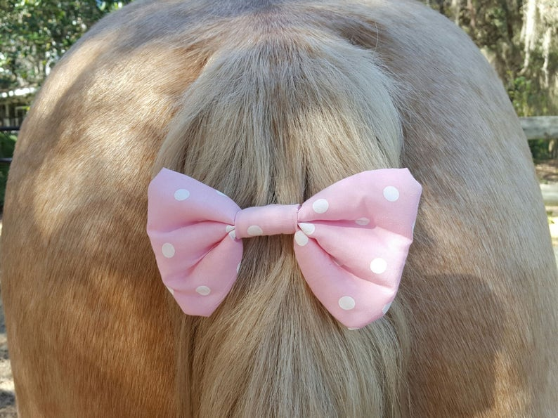 Pink Polka Dot Tail or Forelock Bow for Horse Pony or Mini Equine Tail Ornament Equine Costume Decoration for Horse