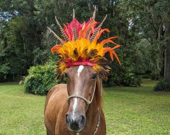 I Am Me Equine Browband Headdress - Riding Horse Feathered Brow Band - Feathered Plume Tack
