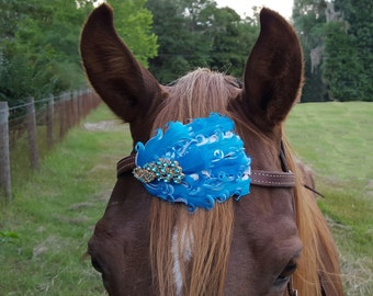 Rhinestone Peacock and Turquoise Feathers Equine Browband or Forelock Ornament - feathers horse jewelry - Horse Costume