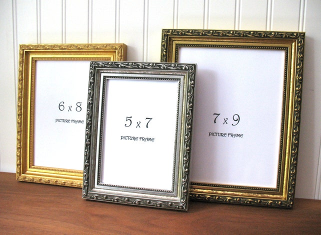 Small Ornate Frame Antique Gold Silver Picture Photo Frame Etsy