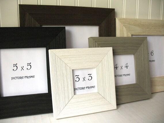 SQUARE BARNWOOD Frame 3x3 4X4 5x5 6x6 7x7 Rustic Black White | Etsy