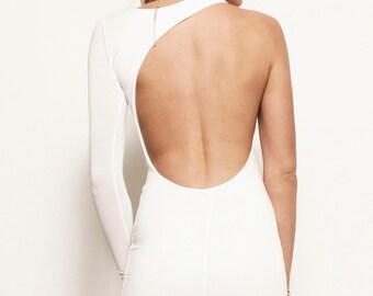 LEIGHTON  - One Shoulder Backless Asymmetric Jersey Wedding Prom Maxi Dress Gown - Michael Kors Kim Kardashian Khloe Kendall Jenner Kylie