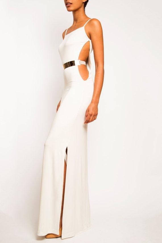 Christina White Long Cutout Gold Belted Side Slit Dress Etsy,Bride Plus Size Black Wedding Dresses