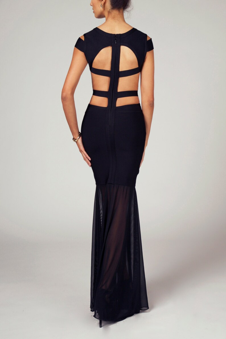 c7478c9300 CORRIE Short Sleeve Sheer Cage Backless Cutout Bandage Gown
