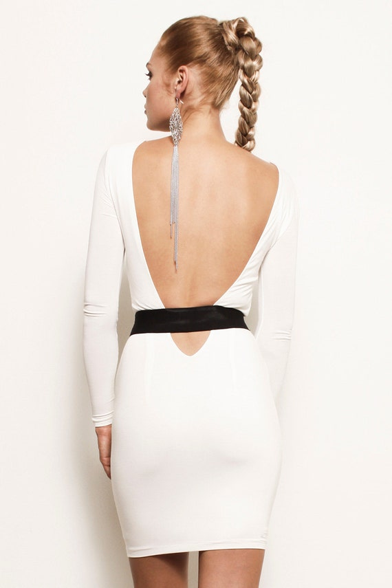c35fe9e27faf NICOLE Backless Long Sleeve Mini Dress Cocktail Bodycon