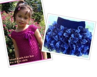 Sweet Paris Girl Top And Glam Girl Ruffle Skirt Knitting Patterns Combo Pack