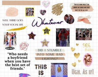 Goodnotes stickers pack   Clueless 90s, 80s sticker bundle  Clueless Stickers Pack, cottagecore stickers, PNG Files