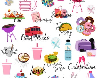 FOOD Digital Stickers for GoodNotes Planner, Junk Food Digital Planner Stickers, GoodNotes Stickers, Food Clipart, PNG Files Digital Sticker