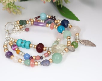 Multi Color Quartz Beads Southwestern Hippie Necklace Jewelry Gift for Grandmother Quartz Bead and Turquoise Bead Necklace Gift for Wife