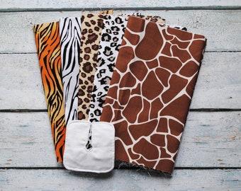 On Safari -- Set of 5 Trach Pads   Tracheostomy Pad   Trach Dressing   Tracheostomy Dressing   Reusable Split-Gauze Pad