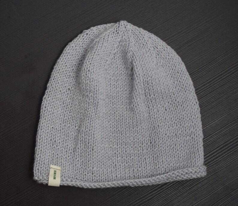 Hand-Knit Beanie Basic Beanie Slouchy Beanie Light Gray Solid