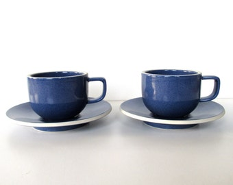Set of 2 Sasaki Colorstone Cup and Saucers In Sapphire Blue, Massimo Vignelli Post Modern Cup And Saucer, Minimalist Coffee Cups