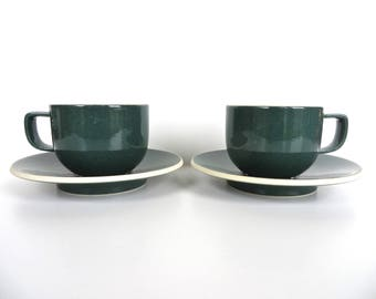 Set of 2 Sasaki Colorstone Cup and Saucers In Hunter Green, Massimo Vignelli Post Modern Cup And Saucer, Minimalist Coffee Cups