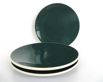 Sasaki Colorstone Salad Plates In Hunter Green, Single Massimo Vignelli Dark Green Colorstone Modern Side Plate