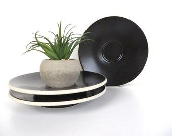 Set Of 3 Black Sasaki Colorstone Saucers, Massimo Vignelli Matte Black Colorstone Replacement Saucers