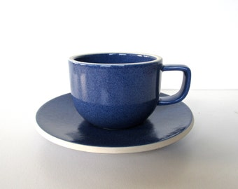Vintage Sasaki Colorstone Cup and Saucer In Sapphire Blue, Massimo Vignelli Post Modern Cup And Saucer, Minimalist Coffee Cups