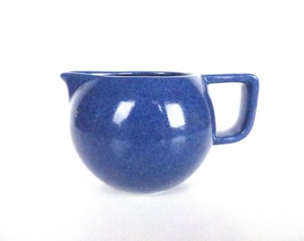 Vintage Sasaki Colorstone Creamer In Sapphire Blue, Massimo Vignelli Post Modern Pitcher, Minimalist Coffee Creamer