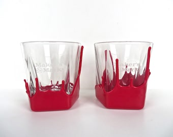 Set Of 2 Makers Mark Bourbon Whiskey Glasses, Double Old Fashioned Red Drip Wax Glasses, Whiskey Lowball, Makers Mark Barware Glasses