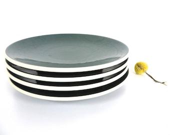 Sasaki Colorstone Salad Plates In Hunter Green, Set of 4 Massimo Vignelli Dark Green Colorstone Modern Side Plates