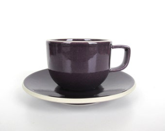 Set of 2 Sasaki Colorstone Cup and Saucers In Purple Plum, Massimo Vignelli Post Modern Cup And Saucer, Minimalist Coffee Cup