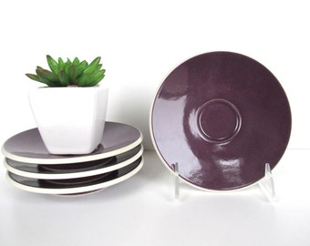 Set of 4 Sasaki Colorstone Saucers In Plum, Replacement Massimo Vignelli Purple Plum Colorstone Saucers