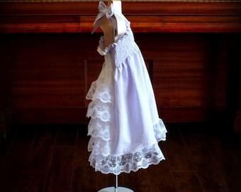 Aqua Blue Batik Boho Ruffle Back Dress; Steady As She Goes long sleeve turquoise green white lace Shirley Temple winter spring summer ocean