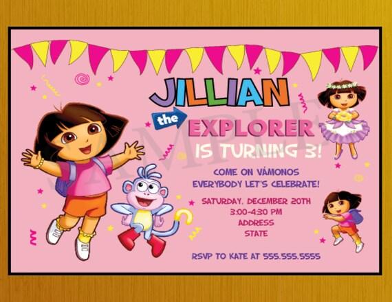 Personalized Dora The Explorer Birthday Party Invitation Dora Etsy