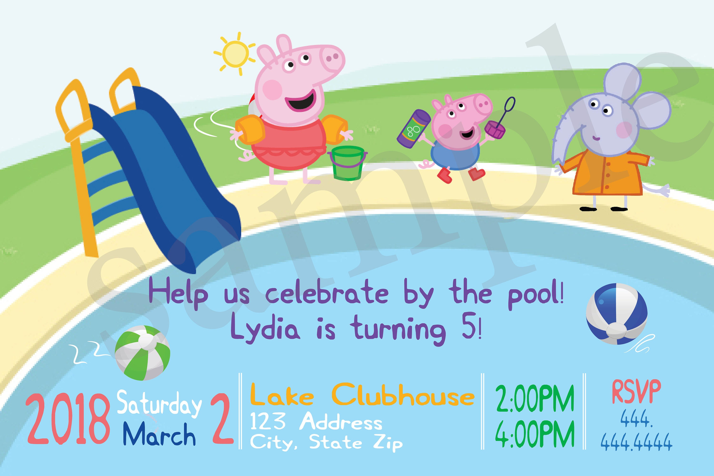 Personalized Peppa Pig Pool Birthday Party Invitation Swim