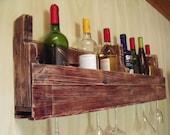 Reclaimed pallet wood wine rack with stem holder - front wood together 36 inch
