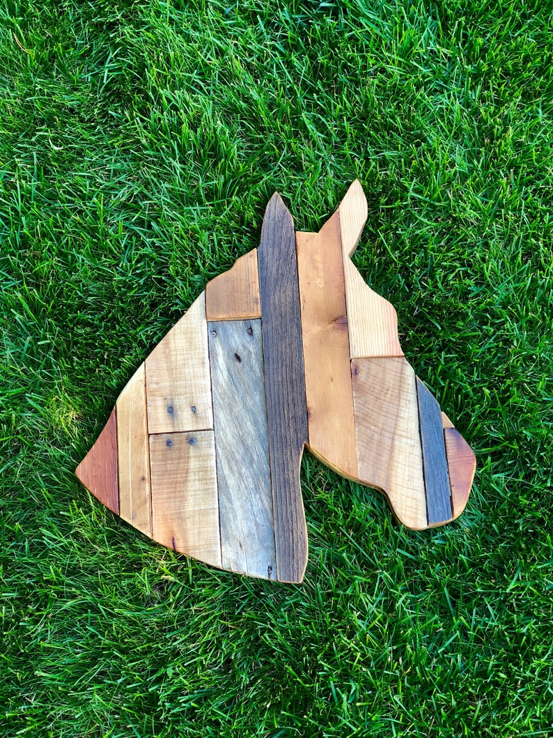 Reclaimed Wood Planked Horse Head Home Decor image 0